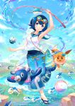 1girl aqua_swimsuit arm_up armpits blue_eyes blue_footwear blue_hair blue_pants blue_sailor_collar bubble clouds commentary_request day dive_ball eevee feet fishing_rod flip-flops gen_1_pokemon gen_3_pokemon gen_7_pokemon goggles goggles_on_head grass head_tilt holding holding_fishing_rod kutsunohito kyogre legendary_pokemon looking_at_viewer outdoors pants pokemon pokemon_(anime) pokemon_(creature) pokemon_sm_(anime) popplio rock sailor_collar sandals school_swimsuit shirt short_hair sky smile standing standing_on_one_leg suiren_(pokemon) swimsuit swimsuit_under_clothes toes water white_shirt wishiwashi wishiwashi_(school)