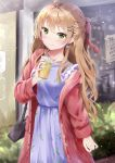 1girl antenna_hair arm_at_side bag bangs blonde_hair bush coat collarbone cup dress drink drinking_straw earrings girls_frontline green_eyes hair_ornament hair_ribbon hairband hairclip handbag highres holding holding_cup jewelry long_hair looking_at_viewer nail_polish outdoors ponytail purple_dress red_coat red_nails red_ribbon rfb_(girls_frontline) ribbon ring sleeveless sleeveless_dress solo standing u.b_m1s2s unbuttoned wide_sleeves