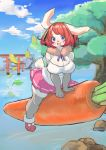 1girl :d absurdres animal_ears animal_nose blue_eyes blush breasts bunny_girl bunny_tail carrot clouds commentary furry highres large_breasts leaves_in_wind looking_at_viewer medium_hair ookami0201 open_mouth original pink_skirt pleated_skirt rabbit rabbit_ears redhead sitting skirt sky smile solo tail torii tree white_fur