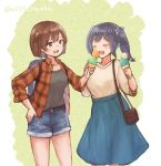 2girls alternate_costume bag black_hair black_shirt blue_shorts blue_skirt blush breasts brown_eyes brown_hair brown_sweater casual closed_eyes denim denim_shorts eyebrows_visible_through_hair food gradient gradient_background hair_ribbon hiryuu_(kantai_collection) holding holding_food ice_cream kantai_collection large_breasts long_hair long_skirt multiple_girls open_mouth red_shirt ribbon shirt short_hair short_shorts shorts side_ponytail skirt sleeveless sleeveless_shirt smile souryuu_(kantai_collection) sweater twintails two-tone_background wss_(nicoseiga19993411)