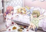 3girls absurdres apple_pie barefoot bed bedroom blonde_hair blue_ribbon cake closed_eyes cup food green_eyes green_hair highres jashin-chan_dropkick medusa_(jashin-chan_dropkick) monster_girl multiple_girls nightgown pajamas pillow pino_(jashin-chan_dropkick) pocky poporon_(jashin-chan_dropkick) redhead ribbon satou_yoshihisa sleepwear tea teacup