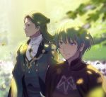 2boys absurdres armor asao_(vc) blue_eyes blue_hair blurry_foreground byleth_(fire_emblem) byleth_(fire_emblem)_(male) cape closed_mouth commentary_request fire_emblem fire_emblem:_three_houses green_eyes green_hair hair_bun highres jacket linhardt_von_hevring long_hair looking_to_the_side male_focus multiple_boys outdoors petals short_hair smile standing upper_body