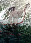 1boy black_hair choker day feathers food fruit hair_feathers highres japanese_clothes kaimen_mo kimono kogarasumaru_(touken_ranbu) leaf long_hair long_sleeves male_focus mole mole_under_eye nature outstretched_arm pond ponytail profile red_ribbon ribbon ribbon_choker ripples sash see-through smile solo split_ponytail standing touken_ranbu tree_branch wading water wet wet_clothes wet_hair white_kimono willow