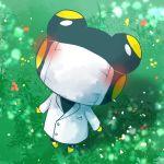 1boy blush coat doubutsu_no_mori flower frog furry grass heart kakkun_(doubutsu_no_mori) sayama_yoshiki solo