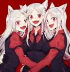 3girls :d animal_ears black_gloves black_neckwear black_suit black_tail black_vest breasts cerberus_(helltaker) collared_shirt demon_girl demon_tail dog_ears dog_girl fang formal gloves helltaker highres kazuukarazu long_hair looking_at_viewer matching_outfit medium_breasts multiple_girls necktie neckwear open_mouth red_background red_eyes red_shirt shirt siblings silver_hair simple_background sisters smile standing suit tail triplets upper_body very_long_hair vest white_hair