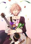 1boy ^_^ ^o^ absurdres acoustic_guitar ahoge black_choker bracelet brown_hair choker closed_eyes collarbone commentary_request confetti earrings eyebrows_visible_through_hair guitar hair_between_eyes happy hat highres holding holding_hat holding_instrument holding_stuffed_toy holostars instrument jewelry luigi male_focus mario_(series) necklace nyokkiiiiin open_mouth rikka_(holostars) ring round_teeth shirt simple_background smile solo stuffed_toy sweater teeth tetris upper_body virtual_youtuber