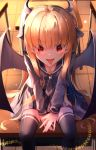 1girl :p absurdres between_legs black_neckwear black_sailor_collar black_serafuku black_shirt black_skirt black_wings blush demon_girl demon_horns demon_wings desk earrings feet_out_of_frame hand_between_legs highres horns jewelry long_hair long_sleeves looking_at_viewer miniskirt on_table orange_hair original own_hands_together plaid plaid_skirt red_eyes sailor_collar school_desk school_uniform serafuku shirt sidelocks sitting skirt solo suisen-21 table thigh-highs tongue tongue_out twintails v-shaped_eyebrows very_long_hair wings zettai_ryouiki