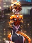 1girl animal_ears arknights ass backless_dress backless_outfit bangs bridal_gauntlets building china_dress chinese_clothes dress english_text filthywoooof furry glass_wall heart highres looking_back multicolored_hair orange_fur pelvic_curtain streaked_hair tail tiger_ears tiger_girl tiger_stripes tiger_tail waai_fu_(arknights) white_fur
