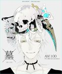 1boy abstract alternate_costume animal_skull closed_mouth dated face looking_at_viewer male_focus medium_hair mzet pale_skin portrait skull solo surreal touken_ranbu tsurumaru_kuninaga white_hair yellow_eyes