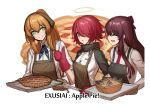 3girls apple_pie apron aqua_eyes arknights brown_hair catchphrase character_name closed_eyes cooking energy_wings english_text exusiai_(arknights) eyebrows_visible_through_hair eyes_visible_through_hair fish food girls_frontline halo highres jojogwang m1903_springfield_(girls_frontline) mittens multiple_girls pie purple_hair redhead smile sparkle stargazy_pie tongs tray wa2000_(girls_frontline)