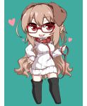 1girl animal_ears bangs boots brown_hair chibi collar dog_ears ear_piercing earrings glasses heart highres jewelry leash lindoh_flores long_hair looking_at_viewer open_mouth original piercing pillarboxed red-eyes_macadamiachoco red-framed_eyewear red_eyes ribbed_sweater smile solo standing sweater thigh-highs thigh_boots tongue_piercing turtleneck turtleneck_sweater