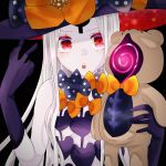 1girl abigail_williams_(fate/grand_order) artist_request bangs bare_shoulders black_background black_bow black_headwear blush bow breasts fate/grand_order fate_(series) forehead hat highres holding holding_stuffed_animal keyhole long_hair multiple_bows open_mouth orange_bow parted_bangs red_eyes simple_background small_breasts stuffed_animal stuffed_toy teddy_bear w white_hair white_skin witch_hat