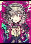 1girl bangs bare_shoulders bleeding blood choker digital_dissolve gia grey_hair hair_over_one_eye hands_clasped headgear highres mechanical_halo original own_hands_together pink_background short_hair solo symbol_in_eye upper_body
