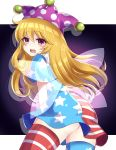 1girl absurdres alternate_legwear american_flag_dress american_flag_legwear ass blonde_hair clownpiece dress fairy_wings hat highres jester_cap long_hair looking_at_viewer looking_back open_mouth polka_dot purple_headwear red_eyes short_dress short_sleeves solo star_(symbol) star_print striped subaru_(subachoco) thigh-highs touhou wings