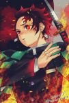 1boy 2020 black_hair black_jacket checkered earrings fire gradient_hair hankichi008 haori highres holding holding_sword holding_weapon jacket japanese_clothes jewelry kamado_tanjirou katana kimetsu_no_yaiba long_sleeves male_focus multicolored_hair official_style red_eyes redhead scar solo spiky_hair sword twitter_username upper_body weapon