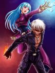 1boy 1girl bangs belt blue_hair bodysuit breasts cross cross_necklace fire gloves ice jewelry k' kula_diamond long_hair medium_breasts necklace simple_background sunglasses the_king_of_fighters violet_eyes white_hair