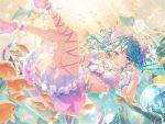 bang_dream! blue_hair blush dress long_hair matsubara_kanon smile underwater violet_eyes