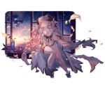 1girl bikini blue_eyes breasts cocktail draph earrings flower granblue_fantasy hair_ornament horns jewelry large_breasts legband minaba_hideo narmaya_(granblue_fantasy) official_art open_clothes pointy_ears purple_hair sunset swimsuit white_bikini wind