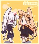 2girls abigail_williams_(fate/grand_order) animal_ears bangs black_bow black_dress blonde_hair blue_eyes blush bow breasts cat_ears cat_tail dress fang fate/grand_order fate_(series) forehead hair_bow horn lavinia_whateley_(fate/grand_order) long_hair long_sleeves looking_at_viewer multiple_bows multiple_girls open_mouth orange_bow pale_skin parted_bangs polka_dot polka_dot_bow ribbed_dress sleeves_past_fingers sleeves_past_wrists small_breasts smile tail violet_eyes white_bloomers white_hair wide-eyed yellow_background yoru_nai