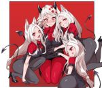 4girls :d ;q animal_ears ass bangs black_footwear black_gloves black_horns black_jacket black_legwear black_leotard black_skirt black_suit blush breasts cerberus_(helltaker) demon_girl demon_horns demon_tail devildogs dog_ears fang formal gloves grin heart heart-shaped_pupils helltaker high_heels highres horns jacket large_breasts leotard long_hair long_sleeves looking_at_viewer modeus_(helltaker) multiple_girls necktie one_eye_closed open_mouth pantyhose pencil_skirt red_eyes red_sweater short_hair simple_background skirt sleeves_past_wrists smile sweater symbol-shaped_pupils tail tongue tongue_out triplets turtleneck white_hair