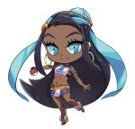 1girl armlet black_hair blue_eyes blue_hair chibi closed_mouth dark_skin earrings eyeliner full_body gloves gym_leader highres holding holding_poke_ball hoop_earrings hyuuganatsu jewelry long_hair looking_at_viewer makeup multicolored_hair navel necklace number partly_fingerless_gloves poke_ball poke_ball_(generic) pokemon pokemon_(game) pokemon_swsh rurina_(pokemon) simple_background single_glove smile solo swimsuit tankini two-tone_hair very_long_hair white_background