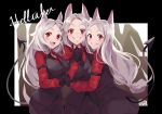 3girls :d animal_ears black_gloves black_jacket blush breasts cerberus_(helltaker) clenched_teeth commentary_request copyright_name demon_girl demon_tail dog_ears dog_girl eyebrows_visible_through_hair gloves helltaker highres holding_hands interlocked_fingers jacket long_hair looking_at_viewer medium_breasts multiple_girls open_mouth piyoyanagi red_eyes red_shirt shirt smile tail teeth white_hair