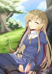 1girl against_rock black_gloves blonde_hair boots bow_(weapon) breasts cross day gloves grass highres long_hair long_sleeves ogami_kazuki outdoors partly_fingerless_gloves puffy_long_sleeves puffy_sleeves rumaria_(sennen_sensou_aigis) sennen_sensou_aigis shade sidelocks sleeping solo thigh-highs tree weapon