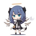 1girl arknights bandaged_arm bandages beni_shake black_jacket black_shorts blue_eyes blue_hair blush closed_mouth commentary_request curled_horns demon_girl demon_horns demon_tail detached_wings full_body halo horns jacket long_hair long_sleeves mostima_(arknights) open_clothes open_jacket shadow shirt short_shorts shorts signature smile solo standing tail white_background white_shirt wings