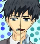 1boy black_hair face grey_eyes headshot kaizaki_arata older pill relife smile spiky_hair younger