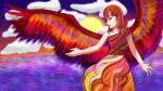 1girl angel_wings blue_eyes clouds crimson_sunbird crossover danganronpa dress multicolored multicolored_background nanami_chiaki ocean redhead smile sunlight twilight wings yuu-gi-ou