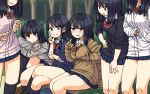 6+girls arm_rest bench black_eyes black_hair black_legwear blush cardigan commentary crossed_legs groping hand_in_pocket highres kneehighs leg_up looking_at_viewer maruput miniskirt multiple_girls original outdoors school_uniform scrunchie sitting skirt sleeves_past_wrists sweatdrop thick_thighs thighs twintails wavy_mouth