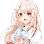 1girl :d bangs blonde_hair blush commentary_request drinking_straw eyebrows_visible_through_hair fate/grand_order fate_(series) highres holding illyasviel_von_einzbern long_hair looking_at_viewer open_mouth puffy_short_sleeves puffy_sleeves red_eyes shirt short_sleeves simple_background slime_(user_jpds8754) smile solo white_background white_shirt