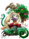 1girl blonde_hair blue_flower blush_stickers bracer chamaji commentary_request dress flower food fruit grass high_ponytail holding holding_staff kid_icarus kid_icarus_uprising laurel_crown leggings long_hair looking_at_viewer mario_(series) nachure open_mouth open_toe_shoes piranha_plant plant rafflesia_(flower) short_sleeves signature smile solo staff tree very_long_hair vines white_background