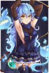 1girl animal_ears arm_behind_head armpits arms_up blue_cape blue_dress blue_hair boots breasts cape curly_hair dootmoon dress elbow_gloves erune ferry_(granblue_fantasy) frown ghost gloves granblue_fantasy hair_between_eyes hair_ornament hairclip highres holding_whip layered_dress long_hair looking_at_viewer medium_breasts sleeveless sleeveless_dress thigh-highs thigh_boots very_long_hair whip x_hair_ornament yellow_eyes