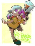 1girl baseball_cap bike_shorts blaster_(splatoon) blue_headwear full_body hat holding ink_tank_(splatoon) jamir leg_up long_hair octarian octoling ponytail purple_hair shirt shoelaces shoes short_sleeves single_vertical_stripe solo splatoon_(series) splatoon_2 standing standing_on_one_leg t-shirt tentacle_hair yellow_eyes yellow_shirt