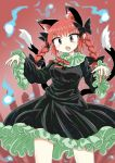 1girl animal_ears bare_legs black_bow black_dress black_ribbon bow braid cat_ears cat_girl cat_tail chups cowboy_shot dress eyebrows_visible_through_hair fang frilled_dress frilled_sleeves frills gradient gradient_background green_frills hair_bow highres hitodama kaenbyou_rin long_sleeves looking_at_viewer multiple_tails neckwear open_mouth red_background red_neckwear redhead ribbon sleeves solo tail touhou twin_braids twintails two_tails