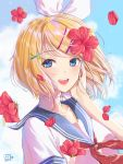 1girl :d absurdres artist_name blonde_hair blue_eyes blue_sailor_collar collarbone commentary_request day eyebrows_visible_through_hair flower flower_request hair_flower hair_ornament hair_ribbon hairclip hand_on_own_cheek highres kagamine_rin looking_at_viewer neckerchief open_mouth petals red_flower red_neckwear ribbon riku_taru sailor_collar school_uniform serafuku short_hair short_sleeves smile solo upper_body vocaloid white_ribbon wind x_hair_ornament