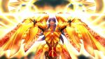 1other armor arms_up bangs breastplate closed_mouth dark_blue_hair dark_skin earrings eyebrows_visible_through_hair fate/grand_order fate_(series) fighting_stance floating glowing glowing_armor golden_wings hair_between_eyes jewelry laser_beam long_hair long_sleeves looking_at_viewer looking_down magic_circle q307011598 red_eyes romulus_(fate/grand_order) romulus_quirinus_(fate/grand_order) shiny solo upper_body wings