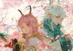 1boy 1girl animal_ears artist_name cherry_blossoms closed_mouth clouds copyright_request earrings elf flower gem green_kimono hair_ornament holding horns japanese_clothes jewelry kimono long_hair looking_at_another looking_away open_mouth pink_eyes pink_hair pointy_ears ribbon scales tagme teeth white_kimono zero1510
