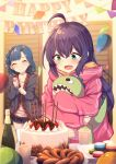 2girls :d absurdres ahoge balloon bangs birthday_party black_jacket black_skirt blue_hair blurry blurry_background blush bottle braid cake closed_eyes closed_mouth collarbone commentary_request confetti depth_of_field eyebrows_visible_through_hair food green_eyes hair_between_eyes happy_birthday highres holding hood hood_down hooded_jacket idolmaster idolmaster_million_live! indoors jacket long_hair long_sleeves macaron mochizuki_anna multiple_girls nanao_yuriko object_hug open_mouth party_popper pennant pink_jacket pleated_skirt purple_hair shinopoko shirt skirt sleeves_past_wrists smile standing string_of_flags stuffed_animal stuffed_toy thigh-highs very_long_hair white_legwear white_shirt