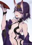 1girl artist_name blue_background bob_cut breasts collarbone commentary cup english_commentary eyebrows_visible_through_hair fang fate/grand_order fate_(series) gradient gradient_background highres horns looking_at_viewer navel oni oni_horns open_mouth patreon_username pointy_ears purple_hair sakazuki short_hair shuten_douji_(fate/grand_order) small_breasts smile solo violet_eyes watermark yo-nashi