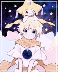 1boy 1other :o ahoge baggy_clothes bangs blonde_hair blue_border blue_eyes blush border bright_pupils commentary_request creature crossover dated eyebrows_visible_through_hair fate/requiem fate_(series) gen_3_pokemon glowing highres jirachi looking_at_viewer male_focus mythical_pokemon namigon on_head open_mouth parted_bangs pokemon pokemon_(creature) pokemon_on_head revision robe scarf short_sleeves sidelocks signature sky smile solo_focus space star_(sky) star_(symbol) starry_background starry_sky upper_body voyager_(fate/requiem) yellow_scarf