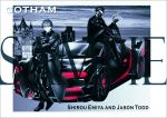2boys absurdres batman_(series) black_hair black_jacket bodysuit car commentary crossed_arms crossover dc_comics domino_mask emiya_shirou fate/stay_night fate_(series) garoshirou gloves gotham ground_vehicle highres jacket jason_todd mask motor_vehicle multiple_boys orange_hair redhead sample scarf sitting trench_coat yellow_eyes
