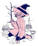 1boy blush book boots candle eyebrows full_body glasses greyscale hat holding holding_book holding_wand looking_away messy_hair monochrome open_book original otoko_no_ko pants paper plant potted_plant round_eyewear short_hair star_(symbol) strovi upper_teeth wand witch_hat