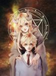 1boy 1girl bangs blonde_hair blue_sweater brown_eyes brown_neckwear collared_shirt demon_girl demon_horns empty_eyes facepaint hair_between_eyes highres horns kagamine_len lily_(vocaloid) long_hair long_sleeves looking_at_viewer magical_girl necktie pointy_ears robe sanpaku shirt smile sweater tency upper_body vocaloid white_nails white_shirt