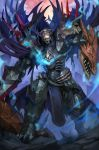 1boy armor black_cloak black_sclera blue_eyes breastplate cape cloak dragon fate/grand_order fate_(series) full_armor full_body gauntlets glowing glowing_eyes gradient helmet highres holding holding_head holding_sword holding_weapon horns king_hassan_(fate/grand_order) long_sleeves looking_at_viewer male_focus pauldrons shousuke_(skirge) skull skull_mask solo spikes standing sword weapon