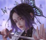 1girl artist_name bug butterfly closed_eyes clothing_request commentary_request copyright_request ears_visible_through_hair hair_ornament highres holding holding_sword holding_weapon insect kochou_shinobu looking_at_viewer short_hair simple_background solo sword violet_eyes weapon wlop