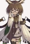 1girl ahoge arknights armband atsuyah0310 black-framed_eyewear black_legwear bracelet breasts brown_eyes brown_hair buttons closed_mouth coat commentary cowboy_shot eyebrows_visible_through_hair feather_hair feathers glasses hair_between_eyes hair_feathers holster jewelry lanyard long_sleeves looking_at_viewer medium_hair owl_ears rhine_lab_logo ribbed_sweater semi-rimless_eyewear silence_(arknights) simple_background single_thighhigh small_breasts solo strap sweater test_tube thigh-highs thigh_holster thigh_strap thighs turtleneck turtleneck_sweater white_background white_coat white_sweater