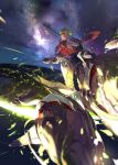 1boy achilles_(fate) armor bangs chariot fate/apocrypha fate/grand_order fate_(series) flying glowing gradient_hair green_hair highres holding horse leg_armor light light_particles looking_at_viewer male_focus multicolored_hair night night_sky orange_scarf picube525528 polearm scarf short_sleeves sky smile solo star_(sky) starry_sky upper_body weapon yellow_eyes