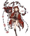 1girl animal_hood blonde_hair book bookmark boots brown_dress chain corset dress frilled_dress frilled_sleeves frills full_body hood hood_up hooded_jacket jacket ji_no little_red_riding_hood_(sinoalice) long_hair looking_at_viewer official_art orange_eyes sinoalice solo thigh_strap torn_clothes transparent_background wide_sleeves